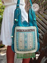Turquoise Leather Hmong Hill Tribe Bag
