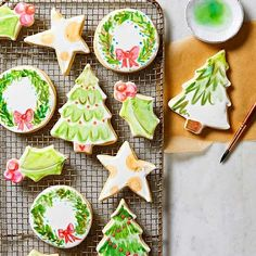 These crisp, airy cookies taste like old-fashioned bakery cookies-but they're decorated in a totally modern way that's fun and so kid-friendly. Christmas Sugar Cookies, Holiday Cookies, Christmas Treats, Christmas Baking, Christmas Recipes, Christmas Christmas, Primitive Christmas, Retro Christmas, Country Christmas