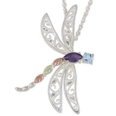 Black Hills Gold Amethyst and Blue Topaz Dragonfly Pendant in Sterling Silver