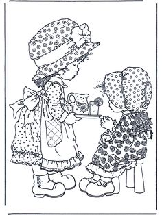 Sarah Kay Coloring Pages - Educational Fun Kids Coloring Pages and Preschool Skills Worksheets Cute Coloring Pages, Printable Coloring Pages, Adult Coloring Pages, Coloring Pages For Kids, Coloring Books, Kids Colouring, Holly Hobbie, Sara Kay, Digital Stamps