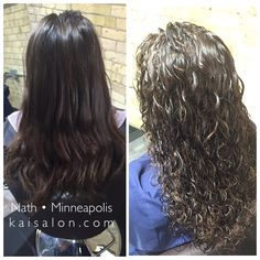 Beautiful before and after photo of a full perm. #themoment #kaisalonminneapolis #hair #perm #aveda #northloop #longhair #brunette
