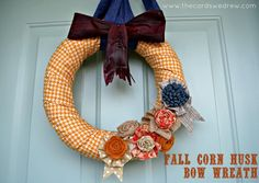 fall corn husk bow wreath