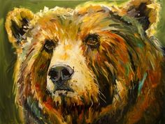 BUDDY BEAR WILDLIFE ART OIL PAINTING DIANE WHITEHEAD WILDLIFE ART, painting by artist Diane Whitehead
