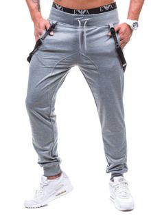 Szare spodnie dresowe baggy męskie Denley 7221