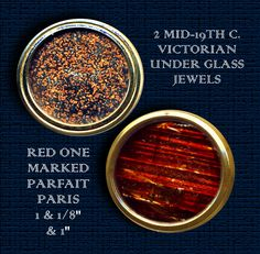 Image Copyright by RC Larner ~ Two Victorian Jewels Under Glass in Brass Buttons ~ R C Larner Buttons at eBay & Etsy         http://stores.ebay.com/RC-LARNER-BUTTONS