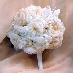 White and Ivory Handmade Bridal Bouquet with Butterfly