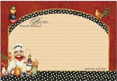 """Chef 4"""" X 6"""" Recipe Cards - Pkg. Of 36 by Brownlow, http://www.amazon.com/dp/B003B62QP2/ref=cm_sw_r_pi_dp_i8ZUpb1SD3RPW"""