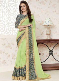 Pista Green Patch Border Lace Work Georgette Designer Print Party Wear Sarees