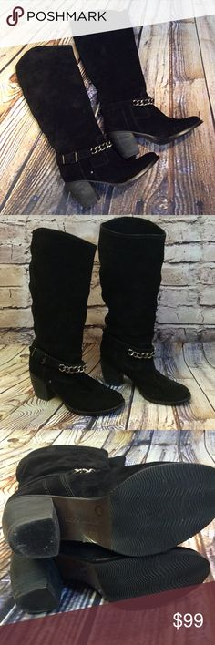 """‼️24HR SALE‼️9.5 BCBG GENERATION BLACK SUEDE BOOTS One gorgeous pair of boots with a chunky 3"""" heel, a chain and buckle across the top. Light scuffing on the edge of the soles but give them a distressed feel. Real leather BCBGeneration Shoes Combat & Moto Boots"""