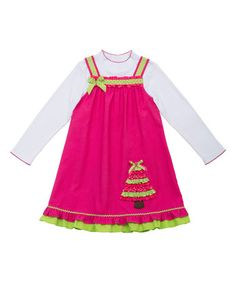 Another great find on #zulily! Fuchsia & Lime Christmas Tree Jumper & Top - Girls #zulilyfinds