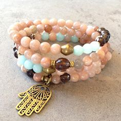 Joy and Positivity, Sunstone and smoky quartz 108 bead mala necklace o – Lovepray jewelry