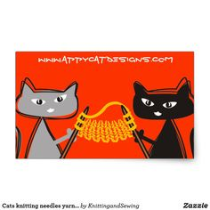 Cats knitting needles yarn gift tag labels