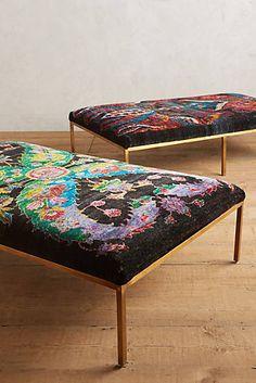 Handwoven Silk Carpet Ottoman