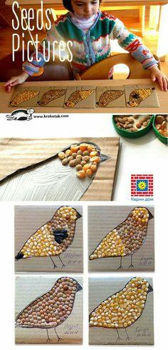 Atividade de colagem com grãos no passarinho. Coordenação motora grossa.