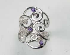 Items similar to Swirl Ring Amethyst - Gemstone Spiral Ring - Sterling Silver Amethyst Waves - Unique Mother's Ring - Silver Swirl - Birthstone Ring on Etsy Argent Sterling, Sterling Silver Rings, Silver Jewelry, Unique Rings, Unique Jewelry, Bali Jewelry, Jewellery, Handmade Jewelry, Jewelry Design