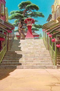 "ghibli-collector: "" Path To The Bath House - The Art Of Hayao Miyazaki's Spirited Away "" Hayao Miyazaki, Studio Ghibli Films, Art Studio Ghibli, M Anime, Anime Art, Anime Girls, Spirited Away Wallpaper, Anime Studio, Personajes Studio Ghibli"