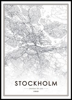 Zwart-witte Stockholm poster