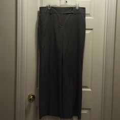 Ann Taylor Gray Trousers size 12 Ann Taylor Gray Trousers size 12. EUC. Lying flat, they measure 17 in across waist and have a 31 inch inseam with an 11 inch leg opening at bottom. Very nice slacks! Ann Taylor Pants Trousers