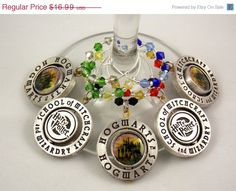 Harry Potter inspired wine glass charms set of 5 by TheWarpZoneStore, $14.44