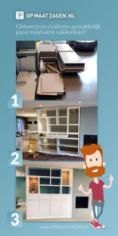 Een nieuwe maatwerk kast in je interieur? Maar is een complete maatwerk kast te duur?   > Ontwerp je kast zelf! Laat alle onderdelen op maat thuisbezorgen. Zo heb jij binnen korte tijd jouw maatwerk vakkenkast in elkaar zitten zonder hulp van een interieurbouwer. Interior Decorating, Interior Design, First Apartment, Tidy Up, Home Improvement Projects, Interior Inspiration, Sweet Home, New Homes, Living Room