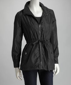 Take a look at this Black Drawstring Zip-Up Raincoat - Women by Joy Mark on #zulily today!