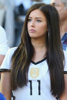 #EURO2016 Lena Stiffel girlfriend of Julian Draxler of Germany looks on during the UEFA EURO 2016 quarter final match between Germany and Italy at Stade Matmut...