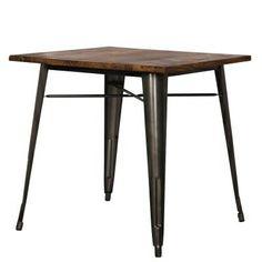 "Metropolis Wood and Gunmetal Dining Table: 30""W x 30""D x 30""H: Rent: $30; Buy: $199"