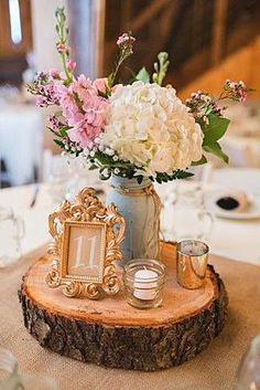 A Rustic Barn Wedding at Rivercrest Farm Wedding reception center piece on a wood slab with gold frame for table number and white hydrangeas, vintage wedding table decor Our Wedding, Dream Wedding, Trendy Wedding, Wedding Rustic, Wedding Themes, Elegant Wedding, Fall Wedding, Wedding Receptions, Shabby Chic Wedding Decor