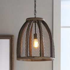 Large Chicken Wire Pendant Light