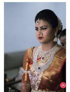 Diamond bridal set Kanchipuram saree