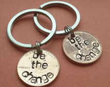 SET OF TWO Be The Change Hand Stamped Penny Keychains, Hand Stamped Penny, Special Date, Birthday, Birthdate, Anniversary, Personalized