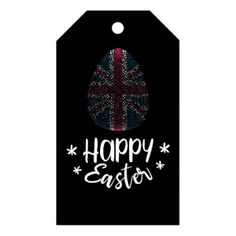 Happy New Year Christmas tree with UK flag Gift Tags - happy easter egg holiday family diy custom personalize