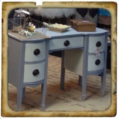 ASCP Paris grey and Old white painted desk