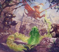 Metallic Dragons: Jungle Encounter Draconomicon 2: metallic Dragons - chapter start artwork; Dungeons & Dragons. ©Wizards of the Coast ©Ralph Horsley.