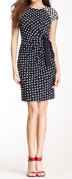 Dot cap sleeve pencil dress