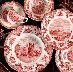 Wedgwood Johnson Brothers Old Britain Castles Pink! My new china pattern! Antique China, Vintage China, Johnson Brothers China, Johnson Bros, Red And Pink, Red And White, Wedgewood China, Pink Dishes, Vintage Dishes