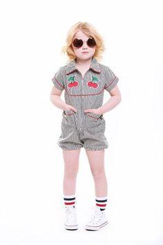 Cherry Bomb Jumpsuit   Girls Playsuits   Rock Your Kid – Rock Your Baby Rock You Baby, Kid Rock, Girls Playsuit, Playsuits, Cherry, Jumpsuit, Hipster, Rompers, Kids