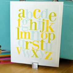 alphabet letterpress print in three colors: lime, sky blue and yellow. 8 x 10 size. $24 www.papermilldesigns.etsy.com