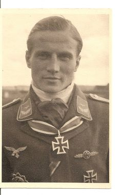 """✠ Heinz """"Esau"""" Ewald, Luftwaffe fighter ace with 84 confirmed victories (plus 15 unconfirmed). Iron Cross, 2nd Class, 1st Class, Front Flying Clasp of the Luftwaffe in Gold, Ehrenpokal der Luftwaffe, Wound Badge in Black, German Cross in Gold, Knight's Cross of the Iron Cross on 20 April 1945."""