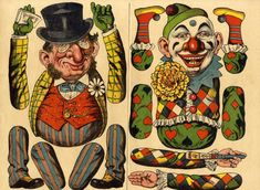 Victorian Paper Dolls, Clowns, Vintage Paper, Diorama, Ephemera, Jumping Jacks, Projects, Cards, Painting