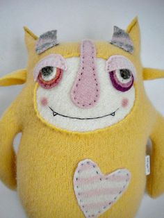 Stuffed Animal Monster Yellow Wool Angora Sweater by sweetpoppycat Felt Monster, Monster Dolls, Toy Art, Softies, Ugly Dolls, Sock Toys, Recycled Sweaters, Fabric Toys, Sock Animals