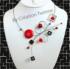 red black necklacebridal jewelryfunky necklace by creationtwinne