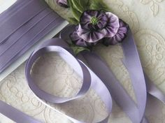 Vintage Double Faced Silk Satin Ribbon from France - 12mm wide - Light Purple - Ribbonwork  - Sewing - Crafts