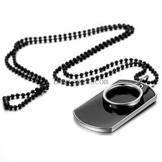 Men's Stainless Steel Black Ring Dog Tag Pendant Necklace w Bead Chain #UnbrandedGeneric #Pendant