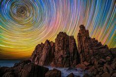 Sterrenlucht met bergen, structuur in de hemel