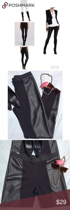 """BCBGMaxAzria """"Shelby"""" faux leather panel leggings I wore these probably twice for a night out. Excellent pre-loved condition! 65% rayon, 30% nylon, 5% spandex. Faux leather is 100% polyurethane. Approx 32"""" elastic waist, 30"""" inseam. I'm about a 10/12 depending on the brand and these fit well. Purchased at Neiman Marcus.  ✅offers❌trades/PPsave 20% off 2+ BCBGMaxAzria Pants Leggings"""