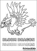 Coloring page with an adult Bloom dragon from the popular Dragonvale app (game). The Bloom Dragon is a special limited dragon that is available for a few weeks every year. The Bloom dragon is a breed breed between nature, lightning and cold element dragons