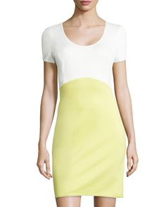 Women's Short-Sleeve Colorblock Ponte Dress, Lemonade - Halston Heritage - Off white/Lemonad (8) from Neiman Marcus.