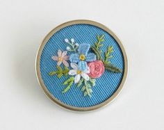 Flower Pendant Necklace / Flower Jewelry / Embroidered