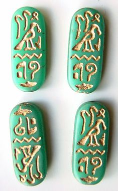Egyptian hieroglyphics cartouche Czech glass beads / could replicate with scratch art paper Ancient Egypt Activities, Ancient Egypt Crafts, Egyptian Crafts, Egyptian Jewelry, Egyptian Themed Party, World Thinking Day, Egypt Art, Art Plastique, Jewelry Making Supplies
